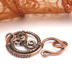Very cool clasp! 14 Gauge WireWrapped Copper Clasp with Rings by OzmayDesigns, $11.99