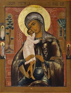 "St. Mary the Theotokos, ""Seeker of the Lost."" Icon in paint and gold on wood. Russian, circa 1800 A.D. Now at the chapel for the offices of the Greek Orthodox Diocese (""Metropolis"") of Denver, Colorado, United States."