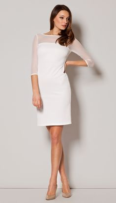 Look at this Ecru Half-Sleeve Sheath Dress - Women on today! White Midi Dress, White Fashion, Dress Codes, Sheath Dress, Chiffon Tops, Cold Shoulder Dress, Zara, Fashion Outfits, Clothes For Women