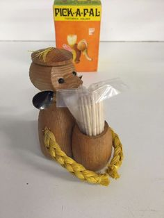 Vintage 1973 Wood Monkey Tooth Pick Holder Caddy NIB Pick-A-Pal Handcrafted WOW