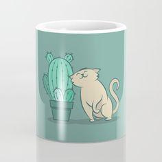 Catcus Mug by Slugbunny - Cactus, cacti, prickly pear, cat, cats, kitten, kitty, feline, purr, plant, plants, love, pet, adoration, friend, unlikely friendship, cute, vector, art, design, cartoon, illustration, drawing