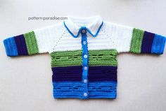 Crochet pattern for dragonfly jacket, sweater, cardigan in baby sizes; guest post on Pattern-Paradise.com #crochet #freepattern #sweater