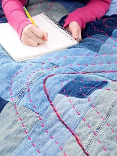 Recycle your old blue jeans into an easy, pieced throw.