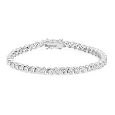Elegant Round CZ Tennis Bracelet – This charming tennis bracelet will have you glistening from head-to-toe. Our genuine rhodium finish is achieved using an electroplating process that coats the item with heavy layers of rhodium a close cousin of platinum that costs three times as much which gives our jewelry a platinum luster.