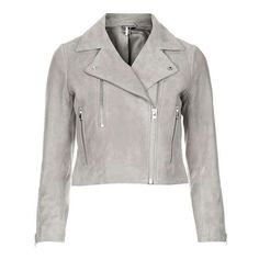 TopShop Suede Biker Jacket (3.520.095 IDR) ❤ liked on Polyvore featuring outerwear, jackets, topshop, suede leather jacket, moto jacket, white jacket, topshop jacket and zip front jacket