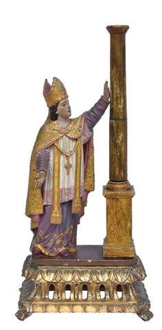 SÃO BRÁS. Rara imagem em madeira policromada. Alt.: 29cm. Portugal-Séc.XIX. No fundo placa em metal