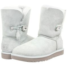 UGG Bailey Button Bling Women's Boots, White ($176) ❤ liked on Polyvore featuring shoes, boots, ankle boots, white, white boots, white fur boots, faux boots and short fur boots