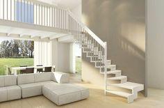 Escalier à quart tournant et rampe lumineux