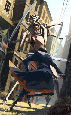 Dishonored 2 Fan Art: Emily Kaldwin is fighting against a giant robot. Character Concept, Character Art, Concept Art, Character Design, Video Game Art, Video Games, Dishonored 2, Emily Kaldwin, Steampunk