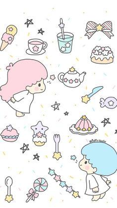 Wallpaper Phone Cute Cartoon Little Twin Stars Ideas Sanrio Wallpaper, Star Wallpaper, Kawaii Wallpaper, Little Twin Stars, Kawaii Drawings, Cute Drawings, Anime Stars, Cute Doodles, My Pokemon