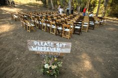 Rustic ceremony chair set up. Natural and fruitwood chairs. Farm Wedding, Wedding Reception, Ranch Style, Receptions, Green And Gold, Weddingideas, Event Planning, Special Events, Vineyard