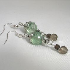 ONE DAY SALE Wire Wrapped Earrings - Fluorite and Smoky Quartz Gemstones £5.95