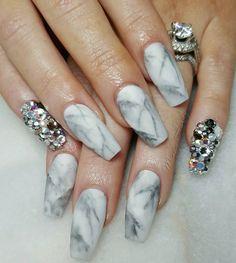 Matte marble design with rhinestones