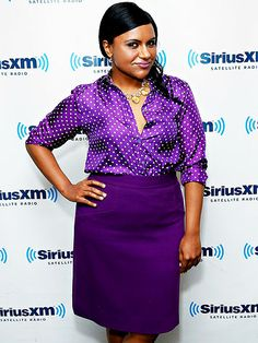 PLUMS UP | Mindy Kaling is pretty in purple as she promotes the new season of her show The Mindy Project on Thursday at SiriusXM studios in N.Y.C.
