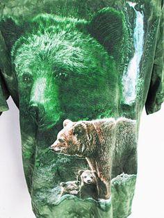 Vintage Tie Dye Bear Green Animal Print T-Shirt XL