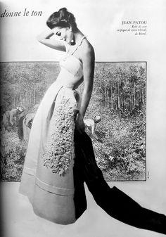 Jean Patou (Marc Bohan) P/E Photo Raymond Ginsbourger. Vintage Inspired Dresses, Vintage Style Dresses, Vintage Outfits, Vintage Clothing, 1950s Fashion Women, Retro Fashion, Vintage Fashion, Jean Patou, Designer Image