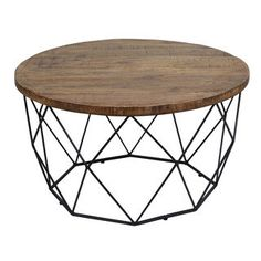 Kosas home Chester round coffee table metal geometric base Overstock