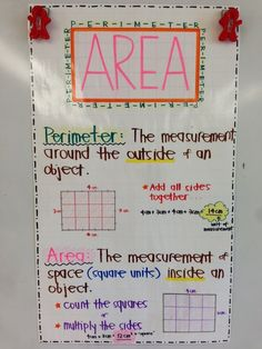 Area and Perimeter Anchor Chart :D  Correlates with 3rd grade CCSS - 3.MD.5, 3.MD.6, 3.MD.8