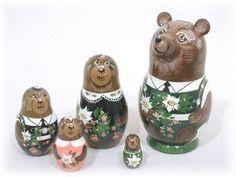 Alpine Edelweiss Bears 5 pc Russian Wood Nesting Doll Matryoshka Stacking Dolls