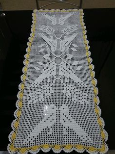 Crochet Table Runner Model Birds Size We manufacture from . Crochet Table Runner, Crochet Tablecloth, Crochet Doilies, Filet Crochet Charts, Free Crochet, Knit Crochet, Crochet Bedspread Pattern, Crochet Stitches Patterns, Crochet Birds