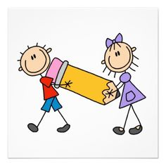 Stick Kids With Pencil Personalized Invitation