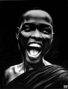 THE SMILE, Philippe Vignal (France), Acrylic on Canvas, 74.8 x 55.1 in., Girl smiling in New York