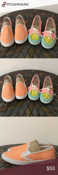2 pairs of Roxy canvas slip ons size 9 EUC Multi color pair are casual boat shoes while the orange pair are casual walking shoes. Roxy Shoes Sneakers