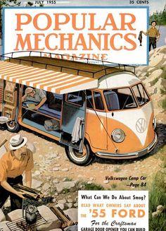 """Orange-Peel House"" for Campers Fits on Small Trailer - Popular Mechanics (Jul, Kombi Trailer, Vw Caravan, Camping Gaz, Camping Style, Backyard Camping, Popular Mechanics, Volkswagen Bus, Vw T1, Volkswagen Transporter"