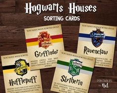 Harry Potter Hogwarts Houses Sorting Cards, Party Favors Games, Gryffindor Slytherin Hufflepuff Ravenclaw, Printable Instant Download Wizard by PrintablesbyNat on Etsy https://www.etsy.com/listing/489394235/harry-potter-hogwarts-houses-sorting