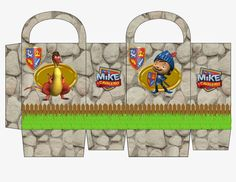 Mike Knight with Stone Wall: Free Printable Candy Paper Bag.