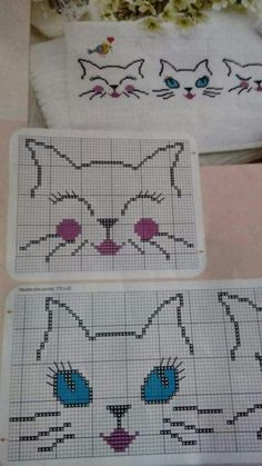 Kitten face kitten x-stitch Cross Stitch Boards, Cross Stitch Baby, Cross Stitch Animals, Cross Stitching, Cross Stitch Embroidery, Hand Embroidery, Cross Stitch Designs, Cross Stitch Patterns, Beading Patterns
