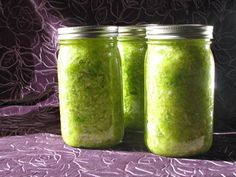 How to make Sauerkraut. Freshly-prepared jars of home-made sauerkraut. The color fades over time, as it ferments. Click through to learn the details of how to make it yourself...