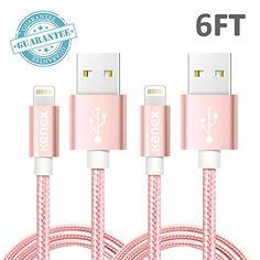 Kenex® 2 Pack 6.6ft USB 2.0 Nylon Braided Lightning Cable…