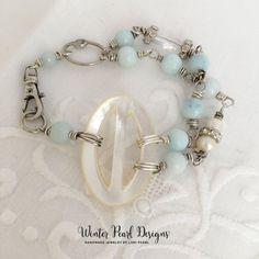 Vintage Assemblage Bracelet Mother of Pearl Bohemian