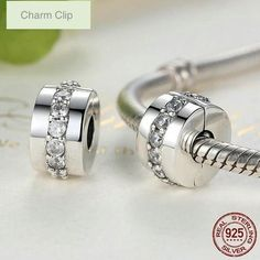 925 Sterling Silver CZ Clip, Silver Clip For Bracelet, Fits European And Pandora Charm Bracelet, Sna Pandora Bracelet Charms, Fitness Bracelet, Engagement Jewelry, Silver Charms, Fashion Bracelets, Sterling Silver Pendants, Jewelry Stores, Just For You, Shining Path
