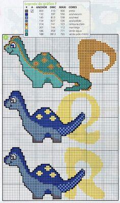 ENCANTOS EM PONTO CRUZ: Monograma Dinossauro                                                                                                                                                                                 Mais