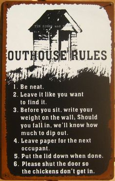 Outhouse Rules FUNNY TIN SIGN metal vtg bathroom wall decor country rustic OHW