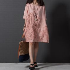 242d789902ad Womens Artistic loose embroidered short sleeve cotton linen dress Kaftan  Robes y in Clothing, Shoes   Accessories, Women s Clothing, Dresses