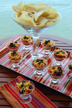 "Individual Taco Dips...super fun presentation that is sure to please at the next ""Mexican"" themed celebration"