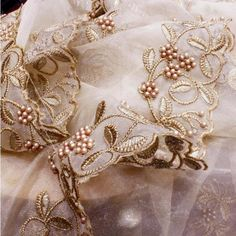 Gold Thread and Pearls Embroidered Organza Dupatta