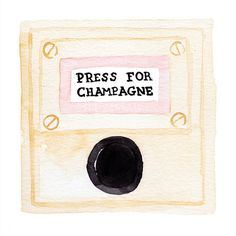 """Watercolor of the iconic """"Press For Champagne"""" Button from the Bob Bob Ricard Restaurant in London. An watercolor giclee print of the artists original watercolor painting. Size: 8 x printed on archival quality matte paper with giclee ink Harrods, Paint Bar, Fine Art Prints, Canvas Prints, Paper Ship, Looks Chic, Oui Oui, Illustrations, Affordable Art"""