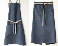 a sneak peek at our newest apron color: slate-blue linen.