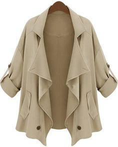 Khaki Lapel Half Sleeve Asymmetrical Pockets Outerwear - Sheinside.com