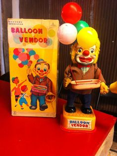 Yonezawa Balloon Vendor Battery Op toy from 60s  ebay