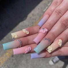 Edgy Nails, Gem Nails, Swag Nails, Glitter Nails, Gem Nail Designs, Cute Acrylic Nail Designs, Acrylic Nails Coffin Pink, Long Square Acrylic Nails, Coffin Nails