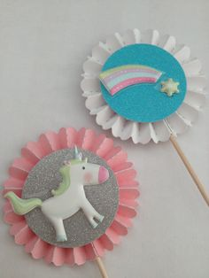 Unicorns & Rainbows Cupcake Toppers by InkCouture on Etsy, $8.00