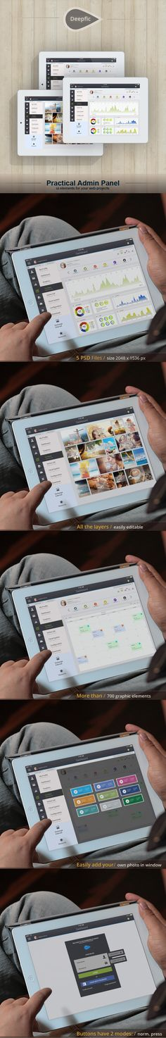 Tablet App. Deepfic - Admin Panel by Yaroslav Zaitsev, via Behance