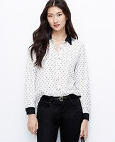 """Tall Clip Dot Blouse - From the delicately woven clip dots to the metallic buttons, this contrast piece channels endless polish. Point collar. Long sleeves. Button front. Back yoke. Shirttail hem. 28"""" from center back neck to hem."""