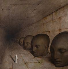 'Fuggì tra le ombre' by Alessandro Sicioldr ( Creepy Art, Weird Art, Arte Horror, Horror Art, Psychedelic Art, Arte Lowbrow, Dark Paintings, Death Art, Funky Art