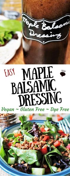 This delicious maple balsamic dressing is sweet & savory vinaigrette that makes every salad taste better! It's vegan, gluten free so everyone can enjoy it! Salad With Balsamic Dressing, Salad Dressing Recipes, Salad Recipes, Maple Syrup Salad Dressing Recipe, Vinagrette Dressing Recipe, Vegan Recipes, Sweet Salad Dressings, Vegan Sauces, Aioli